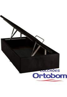 Box Solteiro Com Baú - Camurça Preto - Ortobom