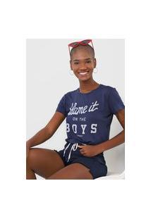 Camiseta Cropped Aeropostale Blame It Azul-Marinho