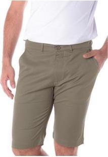Bermuda Traymon Sarja Chino Slim Masculina - Masculino-Verde