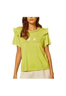 Camiseta Linho Forum Comfort Verde Feminino