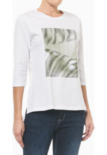 Camiseta Com Estampa Localizada E Fenda - Branco - M