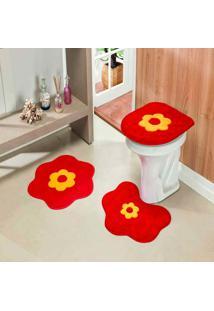 Kit 3Pçs Banheiro Formato Standard Margarida Vermelho