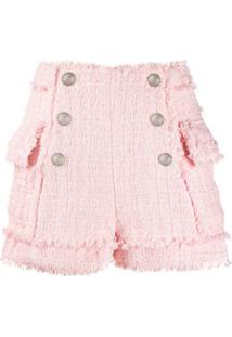 Balmain Short Cintura Alta De Tweed - Rosa