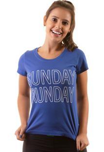 Camiseta Irun Baby Look Algodão Sunday Runday Azul