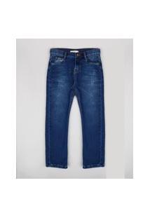 Calça Jeans Infantil Com Puídos Azul Escuro