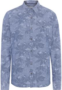 Camisa Masculina Floral Denin - Azul