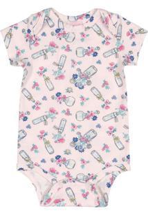 Body Para Bebê Em Cotton Rosa