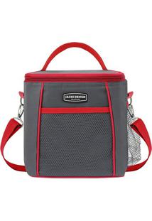 Bolsa Térmica- Cinza Escuro & Vermelha- 21X19X15Cm