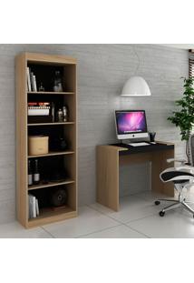 Escrivaninha E Estante Para Escritório-Ho-2951-Hecol - Avela / Onix