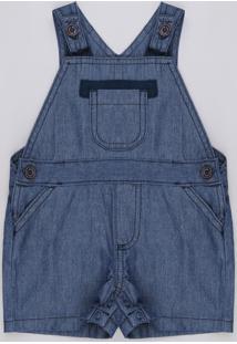 Jardineira Jeans Infantil Com Bolsos Azul Escuro