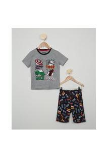 Pijama Infantil Os Vingadores Manga Curta Cinza Mescla
