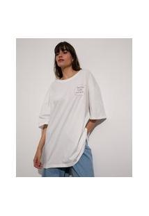 T-Shirt Oversized De Algodão Letra De Música Manga Curta Mindset E Anavitória Off White