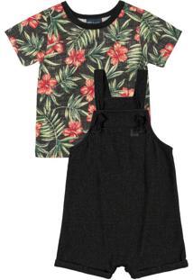 Conjunto Bebê Jardineira E Camiseta Preto