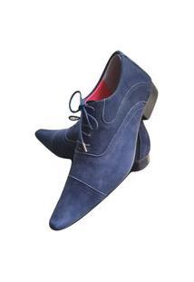 Sapato Masculino Italiano Em Couro Oxford - Azul - Bleu Nobuck