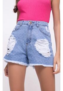 Short Hot Pants Poá Em Jeans