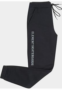 Calça Moletom Juvenil Element Basic Skate Masculina - Masculino-Preto