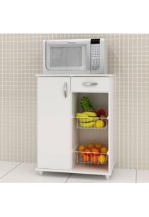 Armário De Cozinha Para Forno Com Fruteira 1 Porta 1 Gaveta Belize Branco New - Notavel