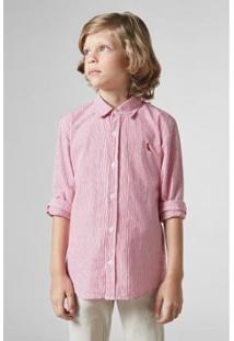 Camisa Listrada Reserva Mini Infantil Masculina - Masculino-Vermelho