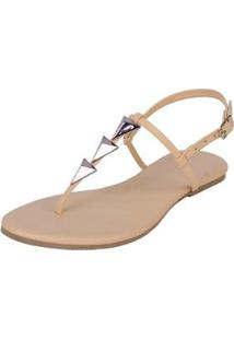 Rasteira Flat Pirâmide Mercedita Shoes Confortável Dia A Dia Casual Feminina - Feminino-Bege