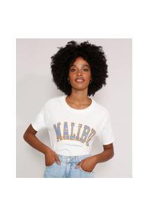 """Camiseta Ampla """"Malibu"""" Manga Curta Decote Redondo Off White"""