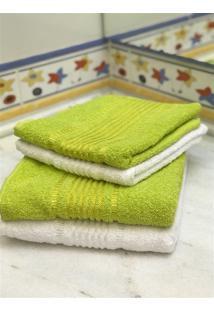 Jogo 4 Peças Toalhas Banho E Rosto Prisma Af1387 - Branco E Verde