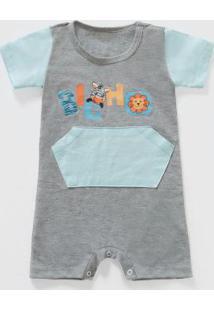 Body Para Bebê Mescla E Azul Christian Gray