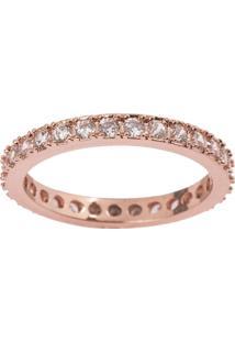 Aliança The Ring Boutique Cravejada De Zircônias Ouro Rosé