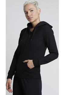 Blusão Feminino Esportivo Ace Em Moletom Felpado Com Capuz E Bolsos Preto