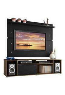 Rack Madesa Cancun E Painel Para Tv Até 65 Polegadas Rustic/Preto/Preto Preto