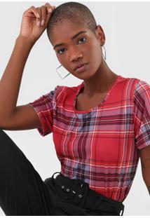 Camiseta Lanã§A Perfume Xadrez Vermelho - Vermelho - Feminino - Poliã©Ster - Dafiti