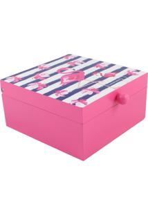 Porta Joias Zona Criativa Flamingo Rosa E Branco Rosa