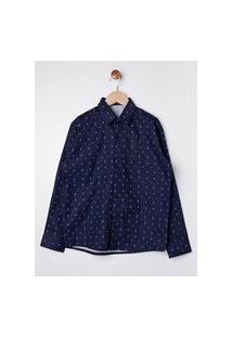 Camisa Estampada Manga Longa Juvenil Para Menino - Azul