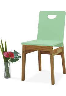 Cadeira De Mesa De Jantar Tucupi 40X51X81Cm - Acabamento Stain Nózes E Verde Sálvia