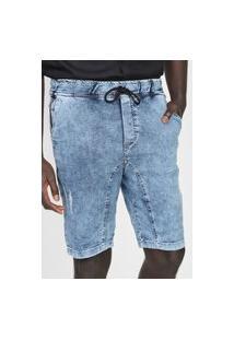 Bermuda Jeans Enfim Reta Amarração Azul