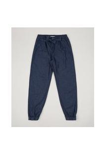Calça Jeans Infantil Jogger Com Bolsos Azul Médio