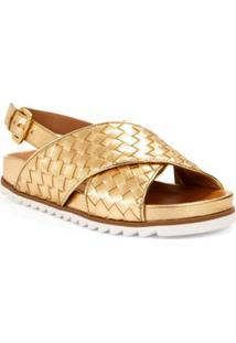 Sandalia Rasteira Estampada Dourado