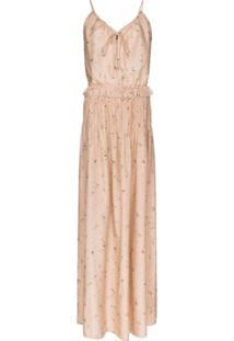 Amiri Vestido Longo Com Estampa Floral - Neutro