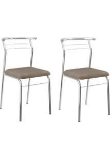 Kit 2 Cadeiras 1708 Camurça Conhaque/Cromado - Carraro Móveis