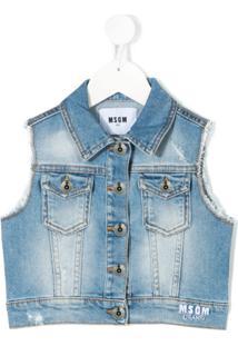 Msgm Kids Colete Jeans Com Logo Bordado - Azul