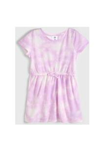 Vestido Gap Infantil Tie Dye Lilás/Off-White