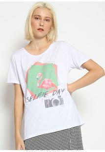 """Camiseta """"Selfie Day"""" - Branca E Verde- M. Officerm. Officer"""
