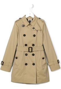 Burberry Kids Trench Coat Com Cinto - Neutro