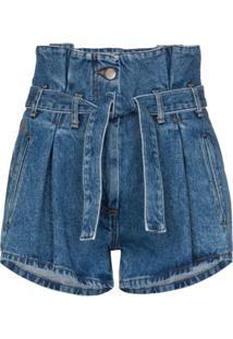 The Attico Short Jeans Com Cintura Alta - Azul