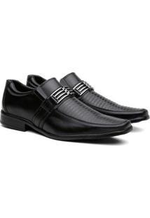 Sapato Social Gerona Fivela Leve Conforto Masculino - Masculino-Preto