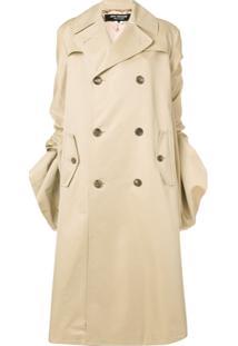 Junya Watanabe Trench Coat Longo Franzido - Neutro
