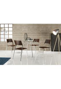 Conjunto 4 Cadeiras Tubo Cromado Poliprop Marrom Carraro