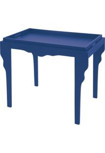 Mesa De Apoio Retrô Azul Com Bandeja De Madeira - Mesa De Apoio - Tramontina