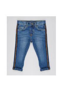 Calça Jeans Infantil Skinny Com Faixa Lateral Azul Médio