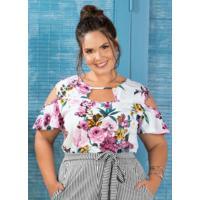 1e07d507a Blusa Com Recortes Plus Size Marguerite Floral
