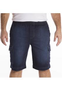Berrmuda Jeans California Prime Elástico Azul - Kanui